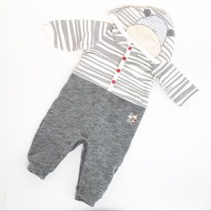 4/$12 Chicco Cow Hoodie Baby Jumpsuit 3 Months